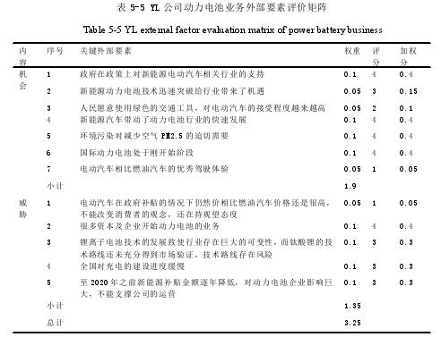 表 5-5 YL 公司动力电池业务外部要素评价矩阵