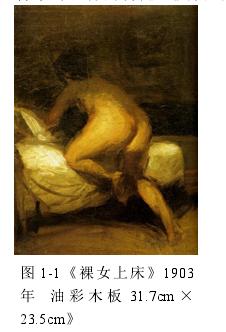 图 1-1《裸女上床》1903年 油 彩 木 板 31.7cm ×23.5cm》