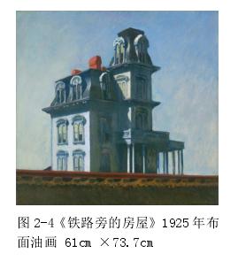 图 2-4《铁路旁的衡宇》1925 年布面油画 61cm ×73.7cm图 2-5《车箱》1965 年布面油画 101.5×127cm