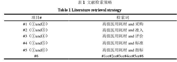 表 1文献检索策略