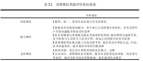 表 2-1 消费维权效能评价指标体系