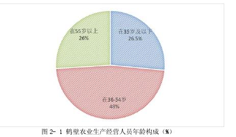图 2- 1 鹤壁农业生产经营人员年龄构成(%)