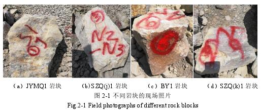 圖 2-1 不同巖塊的現場照片Fig.2-1 Field photographs of different rock blocks