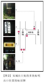 [圖 2] 宋城出口處的多塊標明出口位置的標識牌