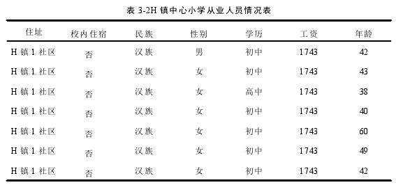 表 3-2H 镇中心小学从业人员情况表