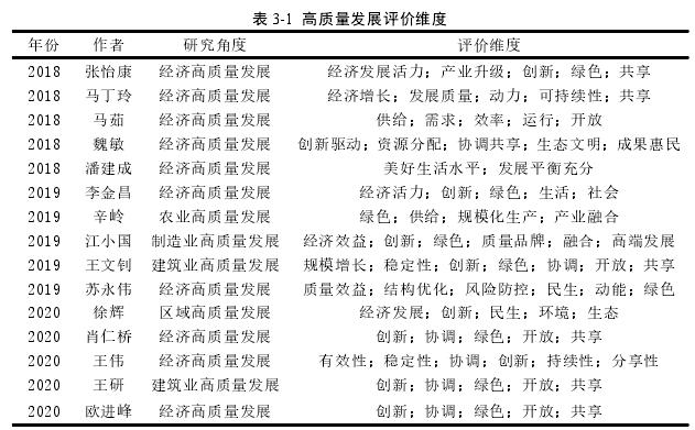 表 3-1 高质量发展评价维度